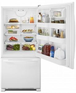 Amana® 22 cu. ft. Bottom-Freezer Refrigerator with Large Capacity - ABB2224BRW - Door Open