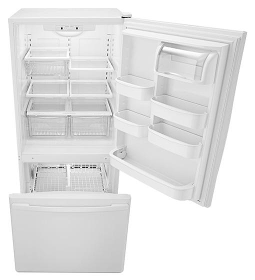 Amana® 18.5 cu. ft. Bottom-Freezer Refrigerator with Greater Efficiency - ABB1924BRW - Doors Open