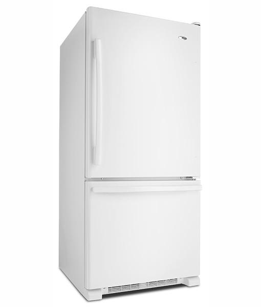 Amana® 18.5 cu. ft. Bottom-Freezer Refrigerator with Greater Efficiency - ABB1924BRW - Side Angle