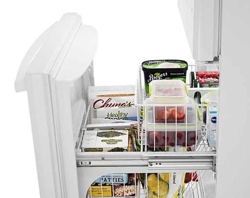 Amana® 18.5 cu. ft. Bottom-Freezer Refrigerator with Greater Efficiency - ABB1924BRW - Open Freezer