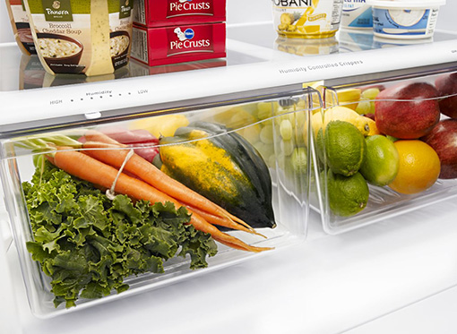 Amana® 18.5 cu. ft. Bottom-Freezer Refrigerator with Greater Efficiency - ABB1924BRW - Humidity Controlled Crispers