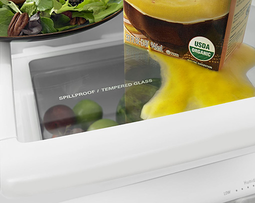 Amana® 18.5 cu. ft. Bottom-Freezer Refrigerator with Greater Efficiency - ABB1924BRW - Spillproof - Tempered glass